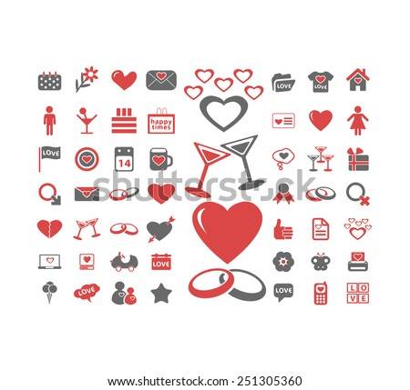 love, wedding, romance, relation, family, couple isolated design flat icons, signs, illustrations vector set on background - stock vector