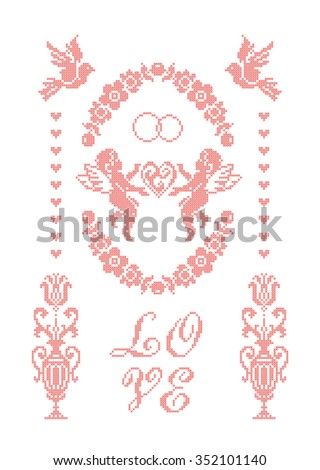 Love. Wedding. Scheme of knitting and embroidery. Vector. - stock vector