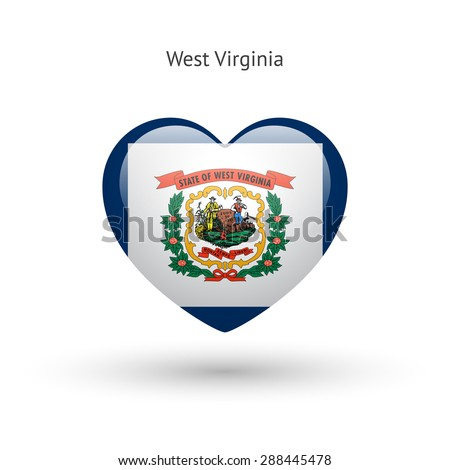 Love West Virginia state symbol. Heart flag icon. Vector illustration. - stock vector