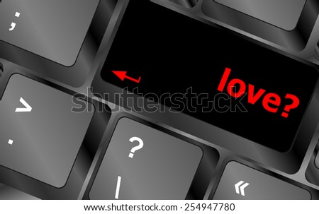 love with question sign button word on keyboard keys - stock vector