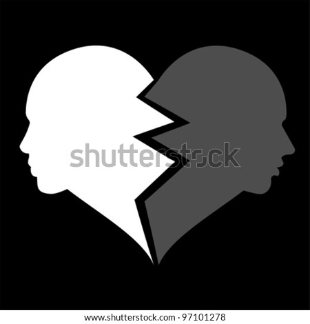 love - woman and man in the broken heart, vector - stock vector