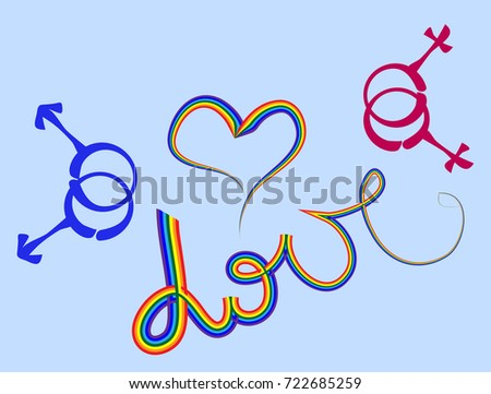 Love Word Heart Written Rainbow Font Stock Photo Photo Vector