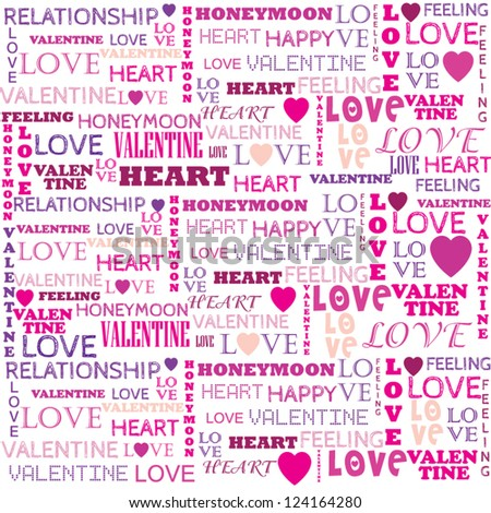 Love word collage on white background. Illustration with different association terms - stock vector