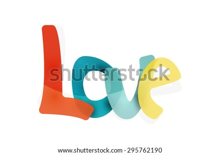 Love word, drawn lettering typographic design element. Hand lettering, handmade calligraphy isolated - stock vector