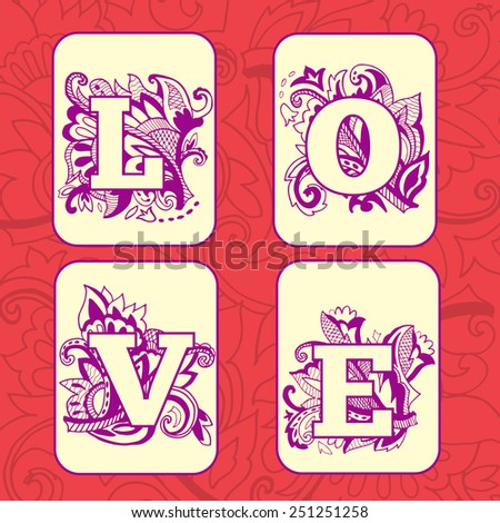 Love word on Vintage patterned background. Playing cards. Valentines day postcard. Vector illustration