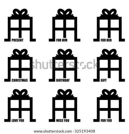 love you illustrated present gift concept with ribbon bow - stock vector
