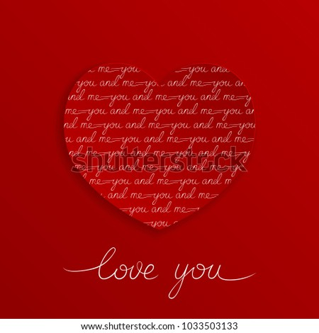 Love you lettering greeting card on stock vector 1033503133 love you lettering greeting card on red background you and me m4hsunfo