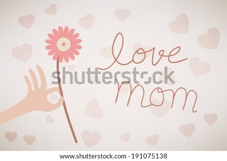 love you mom with flower vector - stock vector