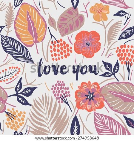 Love You. Print Design - stock vector