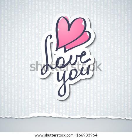 love you, vector handwritten text - stock vector
