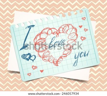 love you words and heart symbol, painted with red lipstick on sticky paper note. Vector, EPS10 - stock vector