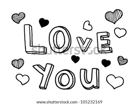 Love You Words In Black Outlines