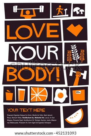 Love Your Body (Flat Style Vector Illustration Poster Design)