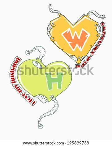 love your couple cartoon icon hand draw - stock vector