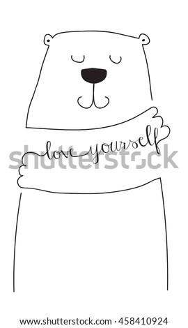 love yourself  bear hug - stock vector