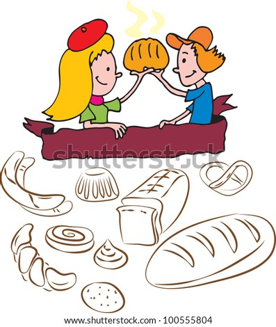 lovelly Children and pastry - stock vector