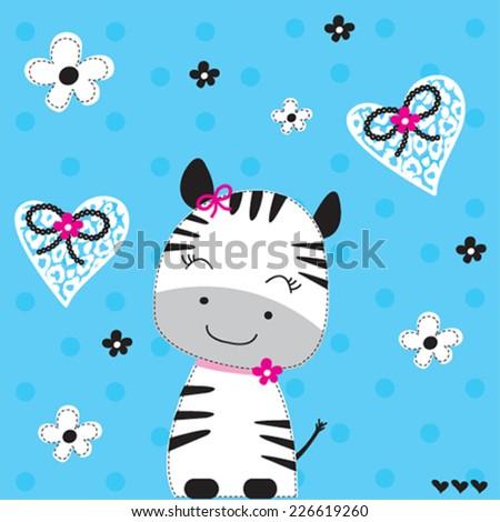 lovely african zebra girl with flowers vector illustration - stock vector