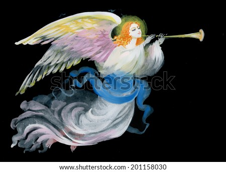 Lovely angel on a black background vector - stock vector