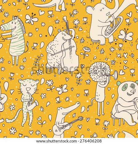 Lovely animal orchestra. Stylish cartoon seamless pattern with leopard, bear, zebra, lion, crocodile and panda playing on musical instruments in vector - stock vector