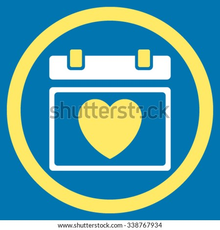Lovely Appointment Date vector icon. Style is bicolor flat rounded symbol, yellow and white colors, rounded angles, blue background. - stock vector