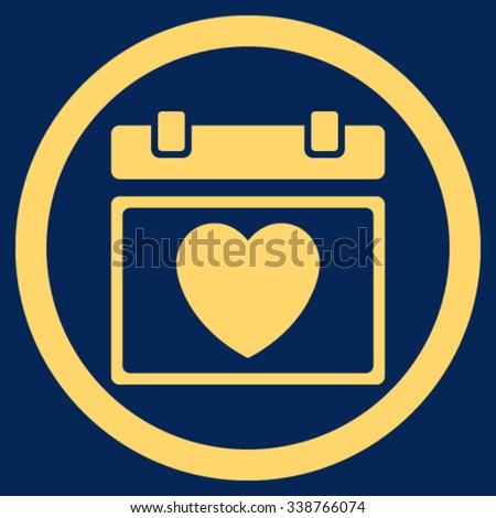 Lovely Appointment Date vector icon. Style is flat rounded symbol, yellow color, rounded angles, blue background. - stock vector