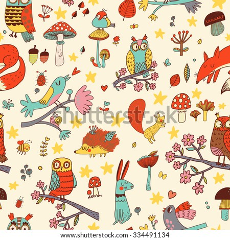 Lovely autumn concept childish seamless pattern with fox, rabbit, owl, hedgehog, squirrel and birds in mushrooms, flowers and branches. Seamless pattern can be used for wallpapers, pattern fills - stock vector