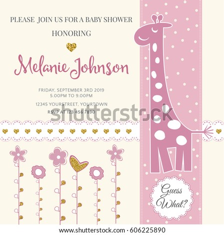 Lovely Baby Shower Card Template Golden Stock Vector