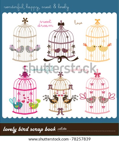 lovely bird scarp book collection - stock vector