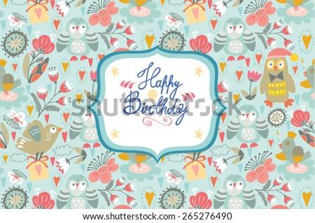 Lovely Birthday vector template for boys. - stock vector