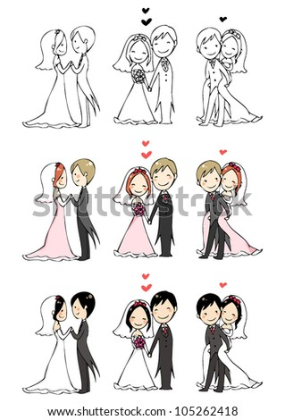 lovely bride and groom with 3 actions and 3 color modes. - stock vector