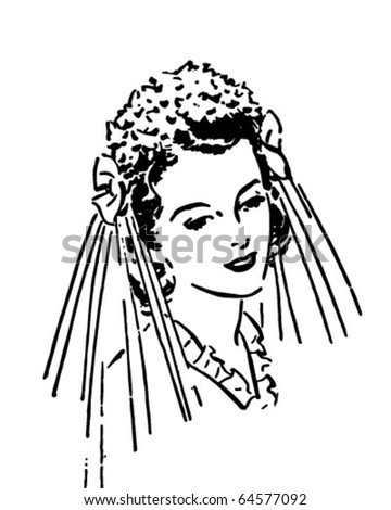 Lovely Bride - Retro Clipart Illustration - stock vector