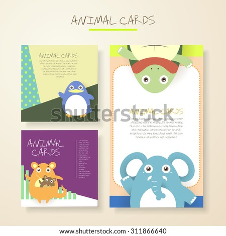 lovely cartoon animal characters cards collections set - stock vector