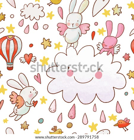 Lovely childish background made of cartoon signs: lovely rabbits, hearts, stars, clouds and air balloon in the sky. Sweet congratulation card in vector. Awesome seamless pattern in cartoon style - stock vector