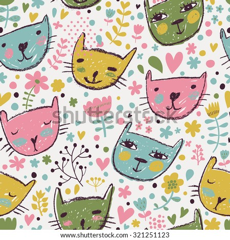 Lovely childish seamless pattern with cats and flowers in bright colors. Seamless pattern can be used for wallpaper, pattern fills, web page backgrounds, surface textures