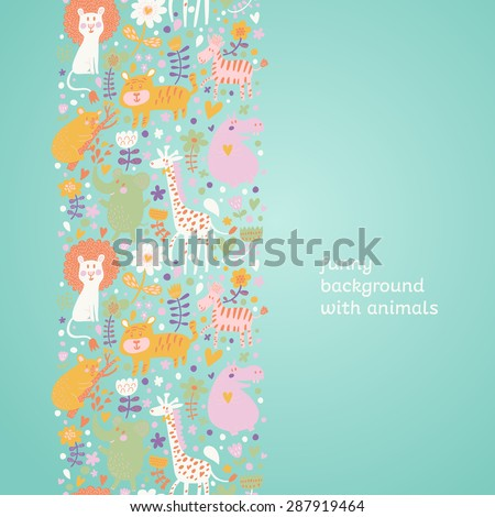 Lovely childish seamless pattern with lion, tiger, zebra, hippopotamus, koala and elephant. Can be used for pattern fills, web page backgrounds, surface textures. Great for children bedroom wallpaper - stock vector