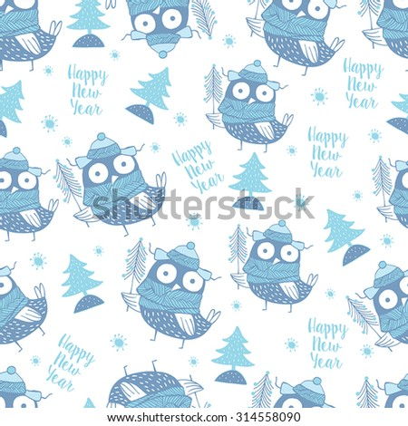 Lovely  christmas owls. Stylish winter background in blue w and white colors. Seamless pattern can be used for wallpapers, - stock vector