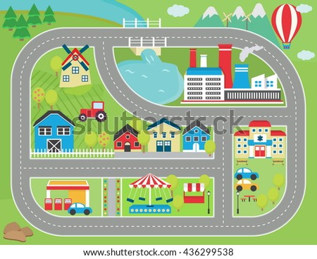 lovely city landscape car track play mat for children activity and entertainment sunny city landscape