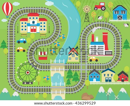 Lovely City Landscape Train Track Play Stock Vector