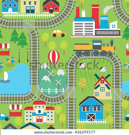 Captivating Lovely City Landscape Train Track Seamless Pattern For Play Mats, Rugs And  Decoration. Sunny