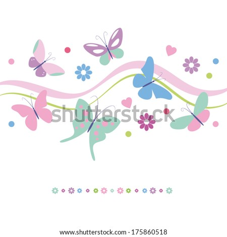 lovely colorful butterflies flowers and hearts greeting card - stock vector