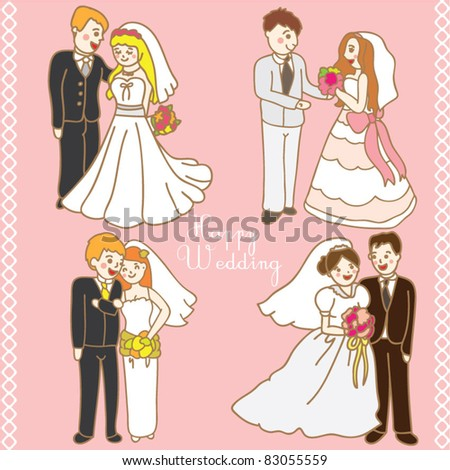 lovely couples wedding icon set - stock vector