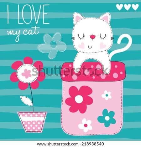 lovely cute cat vector illustration - stock vector