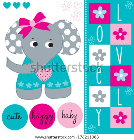 lovely cute elephant baby vector illustration stock vector