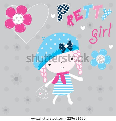 lovely cute pretty girl with flowers vector illustration - stock vector