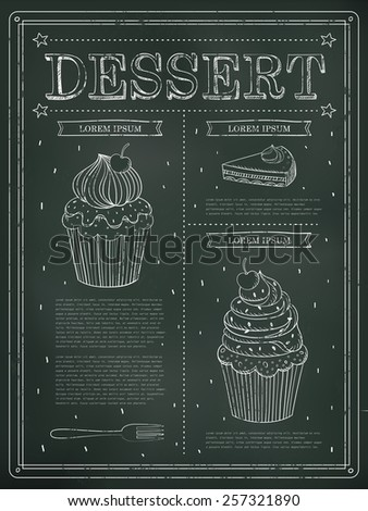 lovely dessert menu design with blackboard and hand drawn elements - stock vector