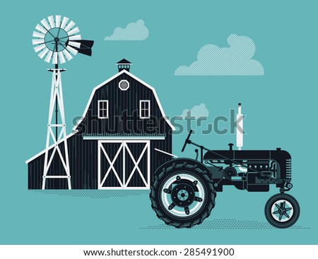 Lovely detailed creative vector agricultural background with old wooden farm barn, water pump windmill and tractor. Ideal for farming and grocery promotion materials like posters and web banners - stock vector