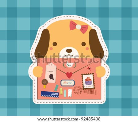 Lovely Dog is Holding a Love Envelope. Valentine Design. - stock vector