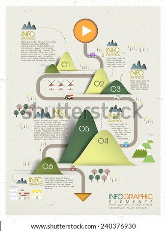 lovely ecology concept infographic template design in origami style - stock vector