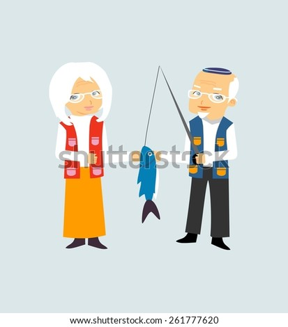 Lovely elderly couple - stock vector