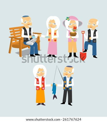 Lovely elderly couple activity - stock vector